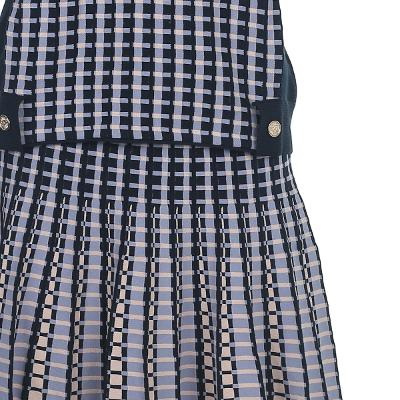 check pattern sleeveless top & flare line check skirt multi